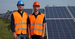 Worker Men Team Look Show Thumb Up Sign Renewable Resource Energy Solar Panels Stock Footage