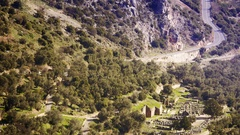Delphi archaeological site ruins touristic destination landmark Greece ancient Stock Footage