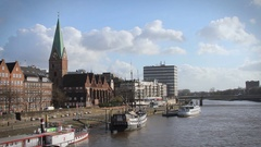 Bremen on the Weser River Stock Footage