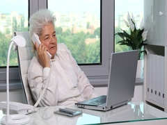 Old Woman Calm Talk Landline Telephone Cooperation Dialogue Inside Office Room Stock Footage