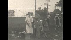 Vintage 16mm film, 1928 roadside corn on the cob, the roaring 20s Stock Footage