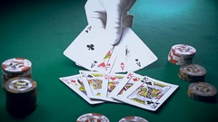 The Croupier Puts Cards On The Game Table Stock Footage