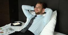 Pensive Business Man Looking Up Think Contemplation Day Dreaming Home Bed Room Stock Footage
