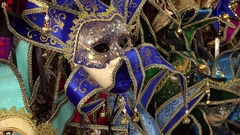 Mardi Gras / Carnival Masks For Sale in New Orleans - close up Stock Footage