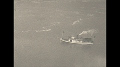 Vintage 16mm film, 1928 Niagara falls maid of the mist, birds eye view Stock Footage