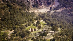 Delphi archaeological site ruins historic touristic landmark Greece ancient Stock Footage