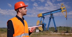 Successful Gas Production Worker OK Sign Smiling Looking Camera Oil Pump Field Stock Footage