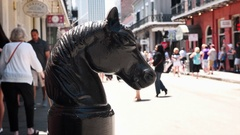 Vintage Horsehead Hitching Post on Bourbon Street in New Orleans Stock Footage