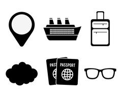 Travel related icons image Stock Illustration
