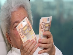 Gray Hair Senior Woman Holding European Banknotes Counting Money Cash Savings Stock Footage