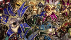 Colorful Mardi Gras /  Carnival Masks For Sale in New Orleans Arkistovideo
