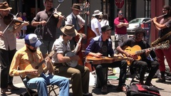 Street Performers Play Music For Tips in the French Quarter of New Orleans Stock Footage