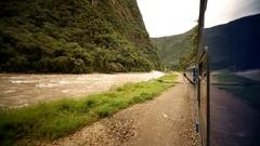 Train in Aguas Calientes in Peru (Machu Picchu city) Stock Footage