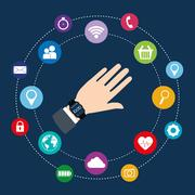 Smartwatch wearable technology icon image Stock Illustration