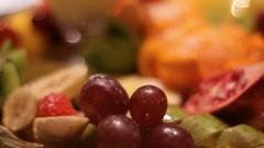 Fruit closeup with grapes Stock Footage