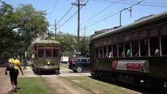 Streetcar in Garden District of New Orleans, Louisiana Stock Footage