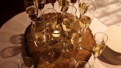 Glasses of champagne at the reception Stock Footage