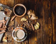 Ingredients for Masala Chai and Cup with Beverage Stock Photos