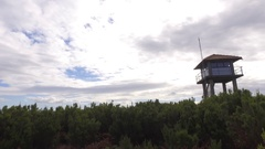 Fire ranger lookout tower on top of mountain steady gimbal 4k Stock Footage
