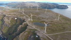 Windmills for electric power production Havoygavelen windmill park Norway Stock Footage