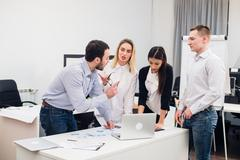 Group Young Coworkers Making Great Business Decisions.Creative Team Discussion Stock Photos