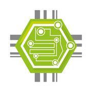 Computer circuit hexagon electronic component Stock Illustration