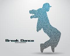 Silhouette of a break dancer from triangles Stock Illustration