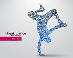 Silhouette of a break dancer from triangles. Stock Illustration