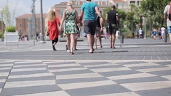 People walk central pedestrian Nice square popular tourist destination France  Stock Footage