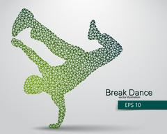 Silhouette of a break dancer from triangles. Piirros
