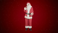 Real Santa Claus carrying big bag full of gifts on red background with snow Stock Footage