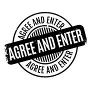 Agree And Enter rubber stamp Stock Illustration