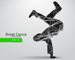 Silhouette of a break dancer Stock Illustration