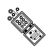Electronic circuit board hardware linear Stock Illustration