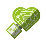 Computer circuit heart electronic component Stock Illustration