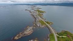 Atlantic Ocean Road in Norway Stock Footage