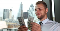 Confident Businessman Counting Money Usd Bills Credit Cash London Skyline City Stock Footage