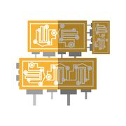 Microchip hardware component computer shadow Stock Illustration