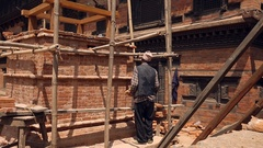 Recostruction worker at Bhaktapur town after the April 2015 Nepal earthquake Stock Footage