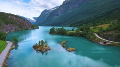 Lovatnet lake Beautiful Nature Norway. Stock Footage