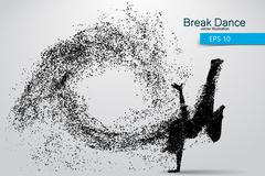 Silhouette of a break dancer from particles. Piirros