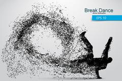 Silhouette of a break dancer from particles. Stock Illustration