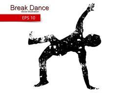 Silhouette of a break dancer Piirros
