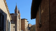 Glimpse of the Ducal Palace, Urbino, Italy Stock Footage