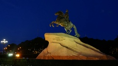 Bronze Horseman sculpture of Peter The Great, Saint Petersburg landmark at dusk Stock Footage