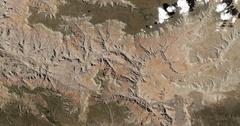 High-altitude overflight aerial of the Grand Canyon and adjacent land, Arizona Stock Footage