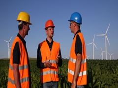 Happy Successful Engineer Men Celebrating Good Job Collaboration Wind Turbines Stock Footage