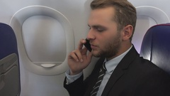 Happy Business Man Talking Mobile Phone Hand Gesture Yes Sign Aircraft Travel Stock Footage