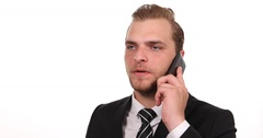 Confident Businessman Talking Mobile Phone Celebrating Good News Office Interior Stock Footage