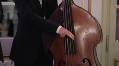 Man hands playing double bass with fingers plucking strings at concert close up Stock Footage